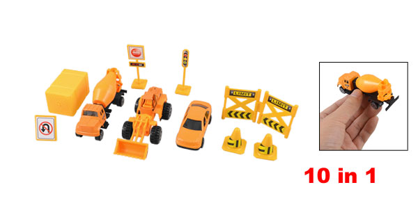 Kids Plastic Roadblocks Traffic Sign Construction Trucks Toy Set 10 in 1