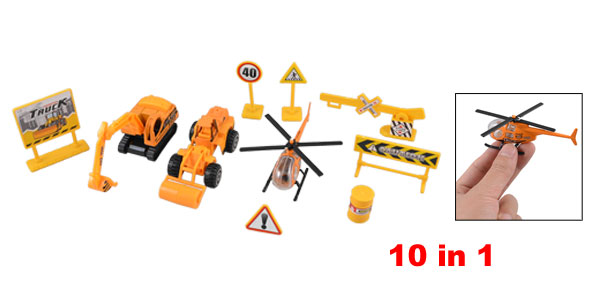 Children Plastic Traffic Sign Roadblocks Helicopter Construction Trucks Toy Set 10 in 1