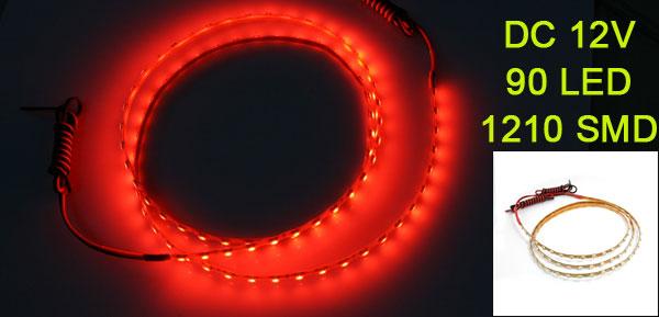 Car Truck 90 LED 1210 3528 SMD Decorative Flexible Light Bar Red 90cm