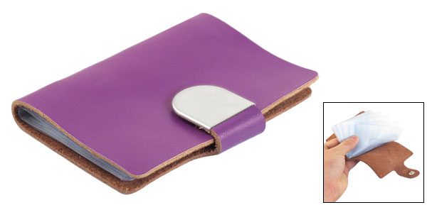 Business Credit Card Sleeve Holder Button Press Design Case Purple