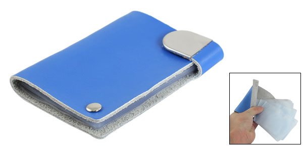 Blue Faux Leather Plastic Flexible 8 Compartments Bank Credit Card Case Holder