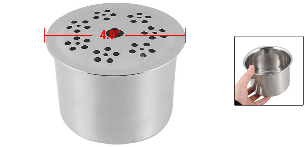 Home Kitchen Hollow Lid Stainless Steel Cruet Pot Chili Powder Salt Bowl Holder