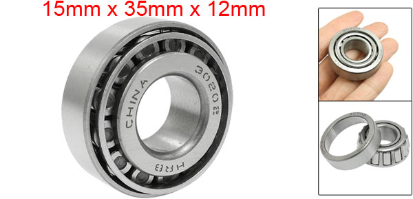 30202 Steering Head Set Tapered Roller Bearings 15mm x 35mm x 12mm Silver Tone