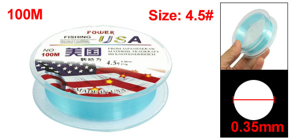 4.5# Blue Nylon Thread 0.35mm Dia 21Kg Fishing Line Spool 100M