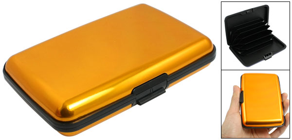 Gold Tone 6 Compartments Alloy ID Credit Bank Cards Holder Case Box Organizer