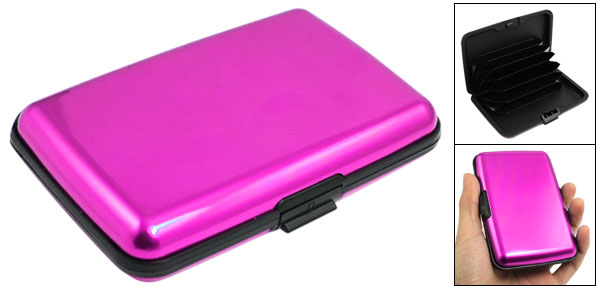 Rectangle Fuchsia Black Alloy 6 Pockets Credit Bank Card Holder Case Protector Box
