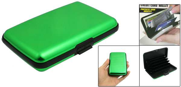 Rectangle Green Black Alloy 6 Pockets Credit Bank Card Holder Case Protector Box