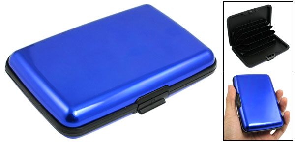 Rectangle Blue Black Alloy 6 Pockets Credit Bank Card Holder Case Protector Box