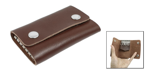 Brown Faux Leather Rectangle 6 Metal Hooks Key Bag Holder Case Organizer