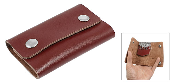 Burgundy Faux Leather Rectangle 6 Metal Hooks Key Holder Case Organizer