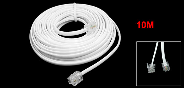 10M 32.8Ft RJ11 Male Plug Telephone Extension Coil Cable Connector