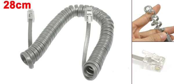 Light Gray Plastic Coiled Cable RJ9 4P4C Plug Connectors Telephone Phone Line