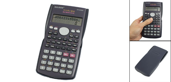 Purple Plastic Shell Two Line Display Students Calculator w Dark Blue Cover w Dark Blue Cover
