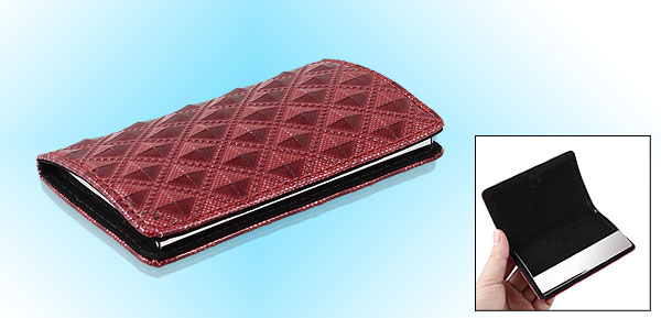 Argyle Pattern Red Faux Leather Coated VIP Business Card Case