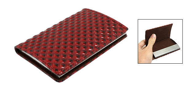 Argyle Pattern Flannel Interior Magnetic Closure Business Card Case Burgundy