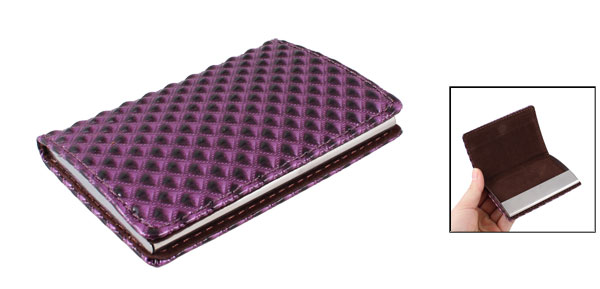Plaid Pattern Purple Faux Leather Coated Business Card Case Holder