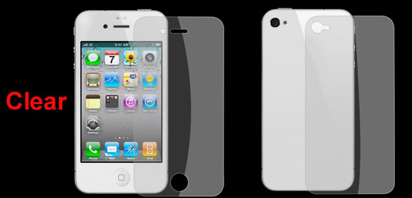Clear Front Screen Guard Back Cover Film for Apple iPhone 4 4G 4S 4GS 4th