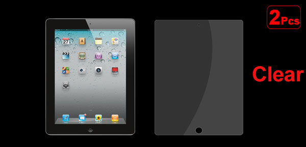 2 Pcs Clear Transparent Front Screen Protector Film for Apple iPad 2 2nd 3 3rd