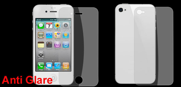 Clear Anti Glare Front Screen Guard Back Cover Film for iPhone 4 4G 4S 4GS