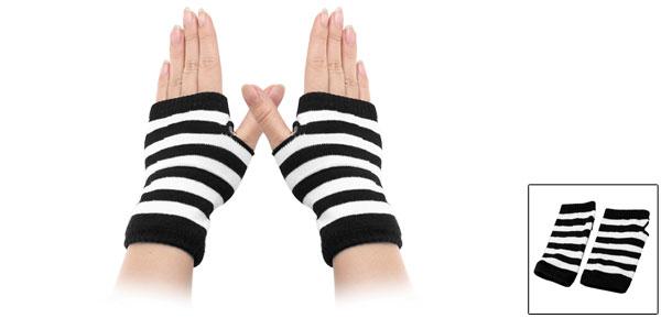 Lady Winter Striped Elastic Thumbhole Fingerless Acrylic Gloves White Black Pair
