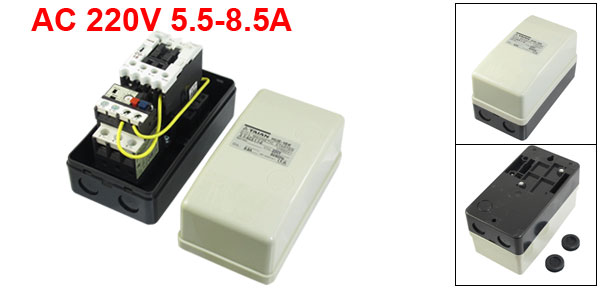 Three Pole AC Contactor Motor Electromagnetic Starter 220V Coil 5.5-8.5A