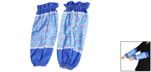 Ladies Blue Allover Flower Apple Pattern Oversleeves Sleevelet Arm Sleeve Pair