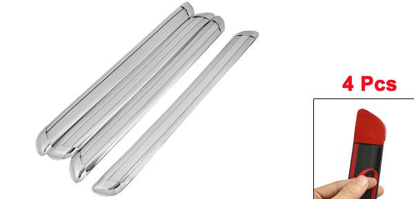 4 Pcs Soft Plastic Car Door Bumper Guard Protector Sticker Gray Silver Tone