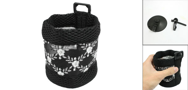 Car Auto Air Vent Black White Flower Pattern Phone Pouch Holder Bag