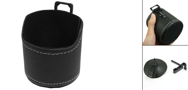 Car Vehicle Air Vent Black Faux Leather Phone Pouch Holder Bag