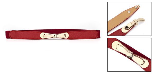 Ladies Bowknot Metal Interlocking Buckle Red 2cm Wide Elastic Band Belt
