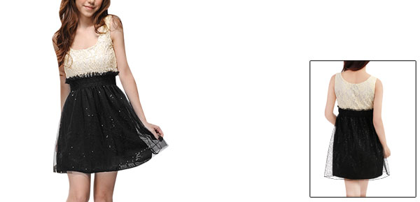 Ladies Sleeveless Paillette Decor Lace Splice Upper Mini Dress Beige Black L