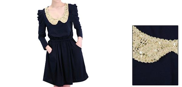 Ladies Dark Blue Peter Pan Collar Slant Pockets Front Sequin Detail Dress L