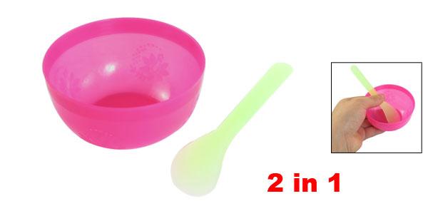 Ladies 2 in 1 Green Stick Fuchsia Round Plastic Mask Bowl Set Beauty Tool