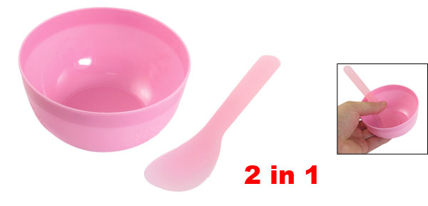 Cosmetic Tool Floral Print Plastic Mask Bowl w Pink Stick for Lady