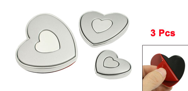 3 Pcs Silver Tone Heart Design Auto Car Door Bumper Guard Sticker