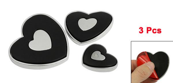3 Pcs Black Silver Tone Heart Style Auto Car Door Bumper Guard Sticker
