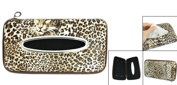 Brown White Leopard Pattern Zipper Closure Car Paper Tissue Box Holder