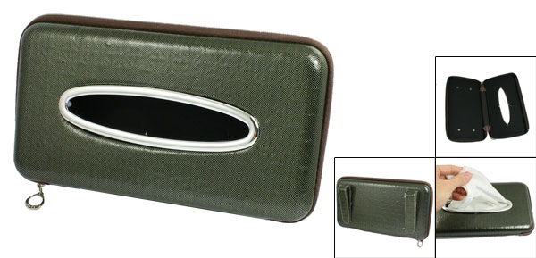 Dark Green Faux Leather Zipper Closure Car Paper Tissue Box Holder