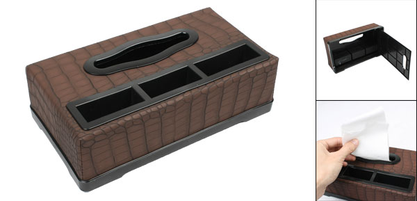 Brown Black Faux Leather Crocodile Pattern Car Tissue Box Holder