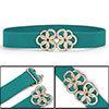 Metal Floral Interlock Buckle Stretch High Waist Belt Cyan for La...
