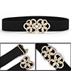 Metal Interlock Circle Flower Buckle Elastic Belt Black for Women
