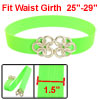 Metal Floral Interlocking Buckle Stretch Waist Belt Green for Lad...