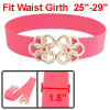Gold Tone Twisted Circle Flower Buckle Pink Elastic Waist Cinch B...