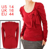 Ladies Red Scoop Neck Bowknot Decor Front Stretch Autumn Top Blou...