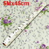 Silver Tone Branch Purple Floral Print Windows Wall Paper Roll St...