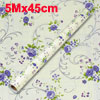 5Mx45cm Beige Background Purple Floral Print Wallcovering Wallpap...
