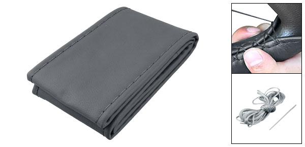 Dark Gray Faux Leather Vehicle Car Steering Wheel DIY Cover w Needle