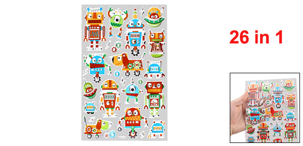 Robots Pattern Self Adhesive Home Wall Decor Stickers 26 in 1