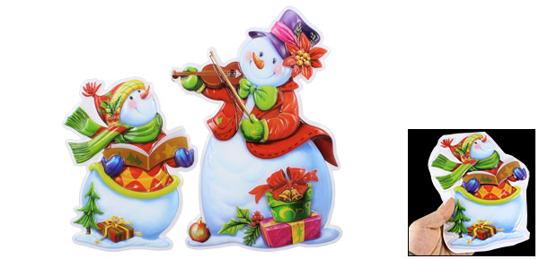3D Reading Snowmans Design Christmas Stickers Wall Decals 2 Pcs