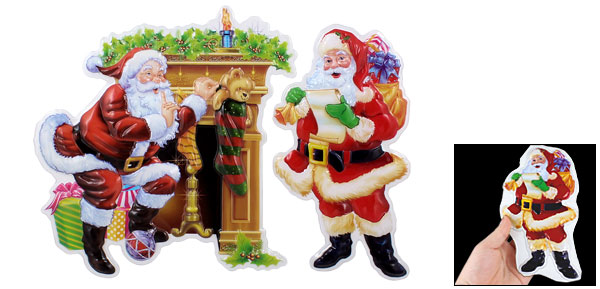 3D Santa Claus Pattern Self Adhesive Home Wall Decor Sticker